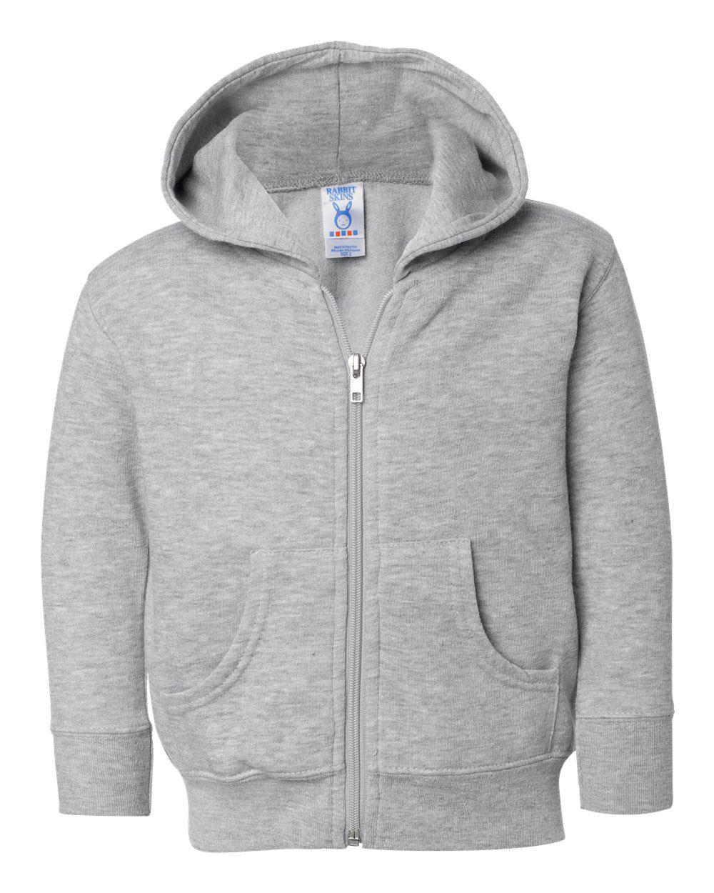 Rabbit Skins Infant Fleece Long Sleeve Full Zip Hooded Sweatshirt with Pouch Pockets